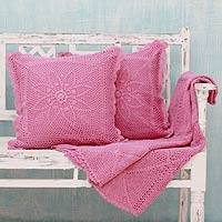 Cotton throw and cushion covers, 'Jaipur Orchid' (3 pieces) - Shabby Chic Pink Cotton Throw and Floral Cushion Covers