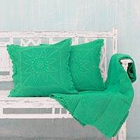 Cotton throw and cushion covers, 'Jaipur Mint' (3 pieces) - Crocheted Cotton Throw and 2 Cushion Covers (3 Pieces)