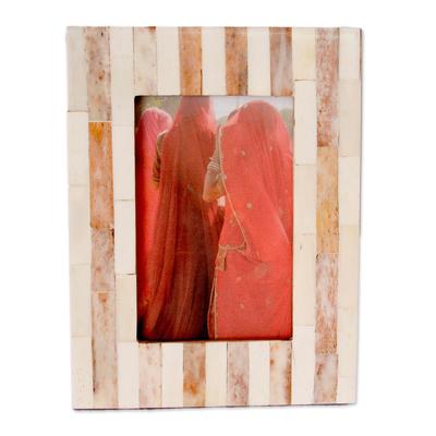 Bone photo frame, 'Earth Shadow' (4x6) - Handmade Bone Striped Photo Frame (4x6)