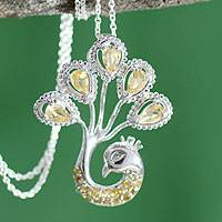 Citrine pendant necklace, 'Joy of India' - Citrine Pendant Necklace in Sterling Silver from India