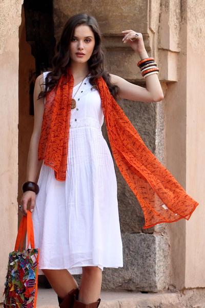 Silk shawl, 'Tribal Scenes' - Silk shawl