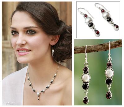 Cultured pearl and onyx dangle earrings, 'Princess of the Night' - Cultured pearl and onyx dangle earrings
