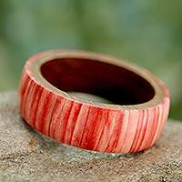 Bone and wood bangle bracelet, 'Rose Harmony' - Wood with Bone Inlay Bangle Bracelet Crafted in India