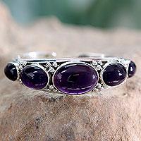 Amethyst cuff bracelet, 'Mystic Violet' - Fair Trade Amethyst Cuff Bracelet from India