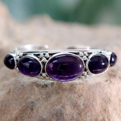 Amethyst cuff bracelet, 'Mystic Violet' - Amethyst on Sterling Silver Cuff Bracelet Indian Jewelry