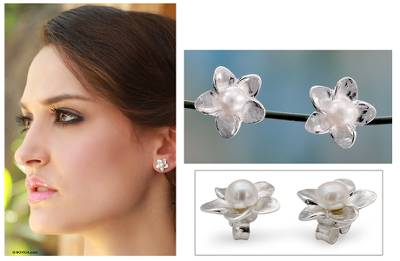 Cultured pearl button earrings, 'White Jasmine' - Pearl Bridal jewellery Sterling Silver Earrings