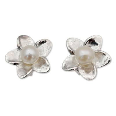 Cultured pearl button earrings, 'White Jasmine' - Pearl Bridal Jewelry Sterling Silver Earrings