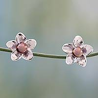Cultured pearl button earrings, 'Shadow Jasmine' - Grey Pearl Floral Jewelry Sterling Silver Earrings
