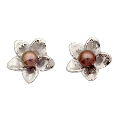 Grey Pearl Floral Jewelry Sterling Silver Earrings