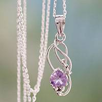 Amethyst pedant necklace, 'Shy Heart' - Amethyst Modern Jewelry Sterling Silver Necklace