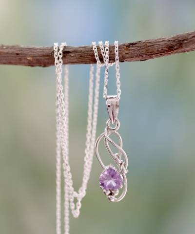 Amethyst pedant necklace, 'Shy Heart' - Amethyst Modern jewellery Sterling Silver Necklace