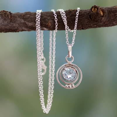 Handmade Sterling Silver and Blue Topaz Necklace