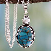 Sterling silver pendant necklace, 'Blue Visions' - Fair Trade Indian Turquoise and Sterling Pendant Necklace