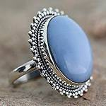 Indian Jewelry Cocktail Ring with Opal and Sterling Silver, 'Blue Promise'