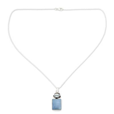 Opal and blue topaz pendant necklace, 'Twin Souls' - Hand Made Opal and Blue Topaz Pendant Necklace