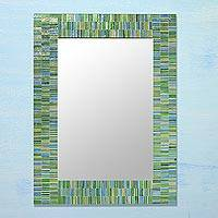 Glass mosaic wall mirror, 'Aqua Mist' -  Handcrafted Glass Mosaic Tile Mirror from India