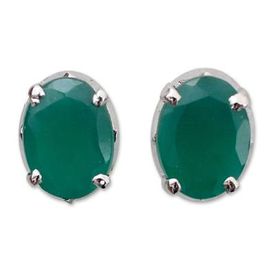 Sterling silver button earrings, 'India Green' - Unique Women's Stud Onyx Earrings