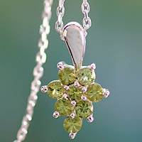 Peridot pendant necklace, 'Star of Delhi' - Peridot Pendant on Sterling Silver Necklace from India