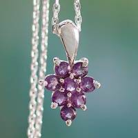 Amethyst pendant necklace, 'Star of Delhi' - Artisan Crafted Silver and Amethyst Pendant Necklace