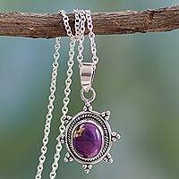 Sterling silver pendant necklace, 'Purple Sun'
