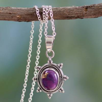 Sterling silver pendant necklace, 'Purple Sun' - Women's Sterling Silver Necklace from India