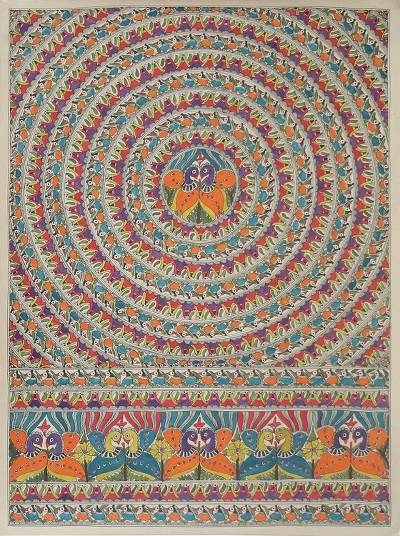 Madhubani painting, 'Celebration' - Madhubani painting