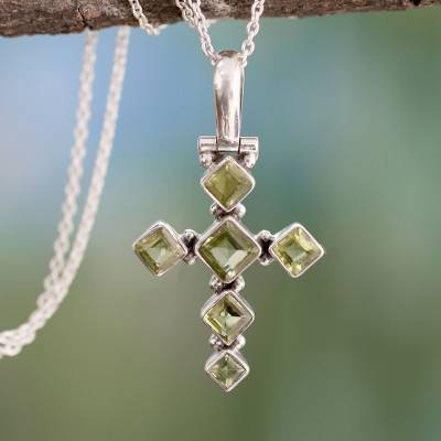 Peridot cross necklace, 'Joyous Cross' - Cross jewellery Peridot and Sterling Silver Necklace