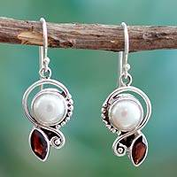 Cultured pearl and garnet dangle earrings, 'Sublime Romance' - Sterling Silver Earrings with Pearls and Garnets