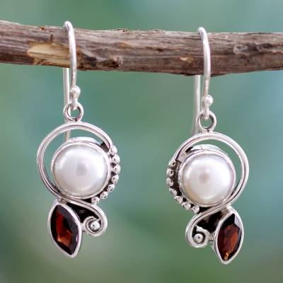 Cultured pearl and garnet dangle earrings, 'Sublime Romance' - Pearl Garnet Earrings in Sterling Silver Jewelry