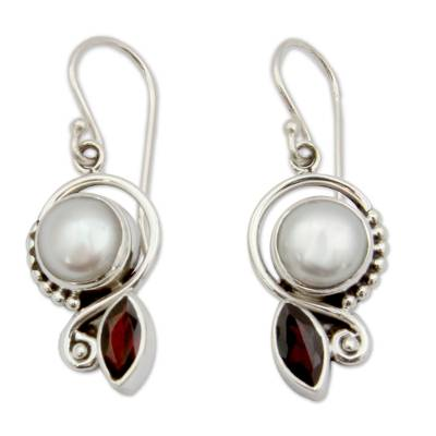 Cultured pearl and garnet dangle earrings, 'Sublime Romance' - Pearl Garnet Earrings in Sterling Silver Jewelry