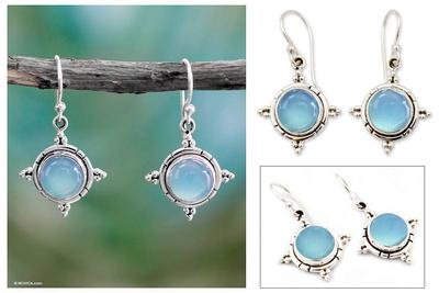 Chalcedony dangle earrings, 'Endless Sky' - Artisan jewellery Sterling Silver and Chalcedony Earrings