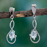 Blue topaz dangle earrings, 'Lyrical Love' - Blue topaz dangle earrings