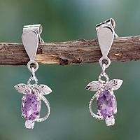 Amethyst dangle earrings, 'Delicate Vine' - Amethyst dangle earrings