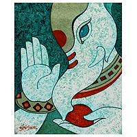 'Blessing for You' - Acrylic Hindu Painting