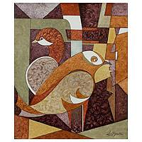 'Happy Coexistence I' - Original Cubist Painting from India