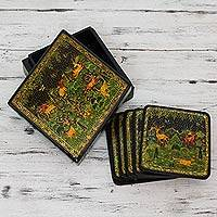 Wood coasters, 'Indian Forest' (set for 6)