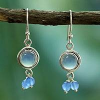 Chalcedony chandelier earrings, 'Sky Dancer' - Unique Sterling Silver and Chalcedony Earrings