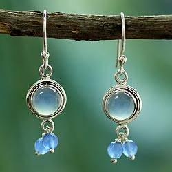 Chalcedony chandelier earrings, 'Sky Dancer' - Unique Sterling Silver and Chalcedony Earrings
