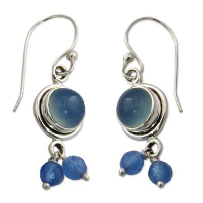 Unique Sterling Silver and Chalcedony Earrings