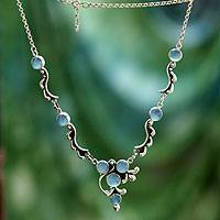 Chalcedony Y-necklace, 'Sky Garland' - Sterling Silver Chalcedony Necklace Hand Crafted Jewelry