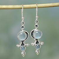 Chalcedony dangle earrings, 'Sky Garland'