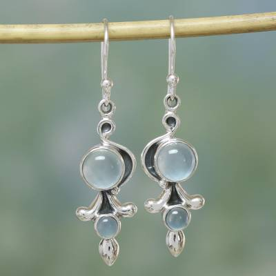 Chalcedony dangle earrings, 'Sky Garland' - Sterling Silver and Chalcedony Earrings India Jewelry