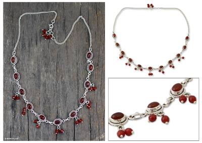 Carnelian waterfall necklace, 'Whispered Desire' - Sterling Silver and Carnelian Necklace from India