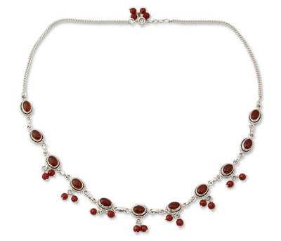 Sterling Silver and Carnelian Necklace from India