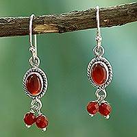 Carnelian chandelier earrings, 'Whispered Desire' - Carnelian and Sterling Silver Earrings India Artisan Jewelry