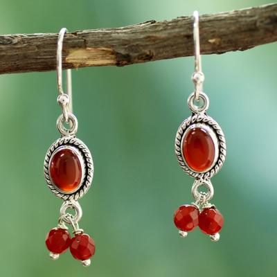 Carnelian chandelier earrings, 'Whispered Desire' - Carnelian and Sterling Silver Earrings India Artisan Jewelry