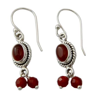 Carnelian and Sterling Silver Earrings India Artisan Jewelry