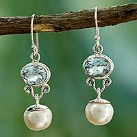 Cultured pearls and blue topaz dangle earrings, 'Dazzling Delhi' - Pearl and Blue Topaz Dangle Earrings