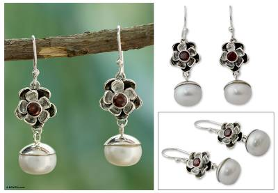 Cultured pearl and garnet flower earrings, 'Mumbai Bloom' - Unique Pearl and Garnet Flower Earrings