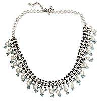 Cultured pearl and blue topaz waterfall necklace, 'Dancing Queen' - Blue Topaz Silver Choker Neckkace